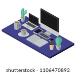 work place scene isometric icons | Shutterstock .eps vector #1106470892