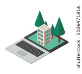 computer laptop and building... | Shutterstock .eps vector #1106471816