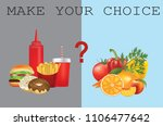 healthy and unhealthy food ... | Shutterstock .eps vector #1106477642