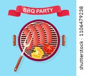 portable round barbecue with... | Shutterstock .eps vector #1106479238