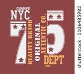 new york brooklyn sport wear... | Shutterstock .eps vector #1106485982