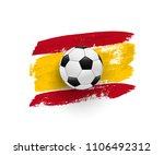 realistic soccer ball on flag... | Shutterstock .eps vector #1106492312