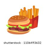 hamburger and french fries ... | Shutterstock .eps vector #1106493632