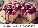 fresh berry cheescake food... | Shutterstock . vector #1106505392