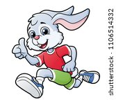 smiling rabbit jogging | Shutterstock .eps vector #1106514332