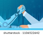 human arm wrestling with robot. ... | Shutterstock .eps vector #1106522642