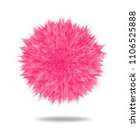 pink fluffy pompom or hair ball ... | Shutterstock .eps vector #1106525888