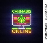 Marijuana Medical Logo Neon...