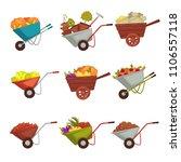 gardening wheelbarrow with...   Shutterstock .eps vector #1106557118