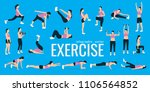exercises. slim woman in... | Shutterstock .eps vector #1106564852