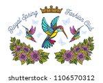 hummingbirds butterflies crown... | Shutterstock .eps vector #1106570312