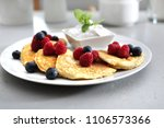 pancakes  diet pancakes with... | Shutterstock . vector #1106573366