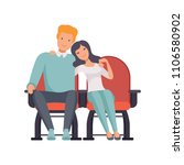 young couple sitting in cinema... | Shutterstock .eps vector #1106580902