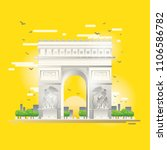 arc de triomphe  french... | Shutterstock .eps vector #1106586782