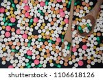 pile of colorful tablets and... | Shutterstock . vector #1106618126