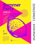 summer party poster with lemon. ... | Shutterstock .eps vector #1106625632