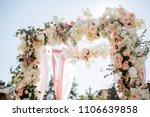 wedding ceremony arch decor on... | Shutterstock . vector #1106639858
