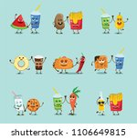 funny cards with healthy and... | Shutterstock .eps vector #1106649815
