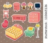cute cartoon furniture stickers | Shutterstock .eps vector #110665136