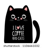 kawaii black cat with coffee... | Shutterstock .eps vector #1106661032