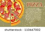pizza menu template in vintage... | Shutterstock .eps vector #110667002