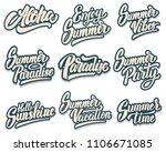 set of summer lettering phrases.... | Shutterstock .eps vector #1106671085