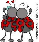 couple of ladybugs huggeding of ... | Shutterstock .eps vector #1106672012