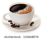 coffee cup and coffee beans on... | Shutterstock . vector #110668076