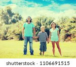 portrait of  family of three in ... | Shutterstock . vector #1106691515