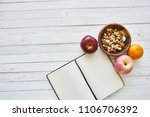 clean notebook on the table and ...   Shutterstock . vector #1106706392