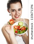 young girl eating a fresh... | Shutterstock . vector #110671196