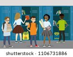 lockers and students in the... | Shutterstock .eps vector #1106731886