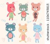 vector set of cute teddy bears... | Shutterstock .eps vector #1106745815