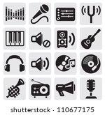 vector black music icons set on ... | Shutterstock .eps vector #110677175