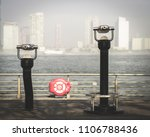 two view finders on a foggy... | Shutterstock . vector #1106788436