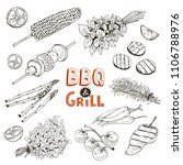 grill time. hand drawn bbq... | Shutterstock .eps vector #1106788976