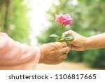 daughter hand giving rose... | Shutterstock . vector #1106817665