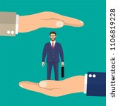 businessman in hands palm holds ... | Shutterstock .eps vector #1106819228