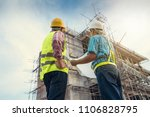 male engineer talking with... | Shutterstock . vector #1106828795