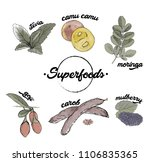superfood hand drawn colorful... | Shutterstock .eps vector #1106835365