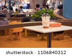 A drink on the table in the food court at Central Bangna Bangna-Trad Road, Bangkok, Thailand