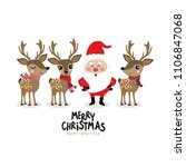santa clause and cute deer in... | Shutterstock .eps vector #1106847068