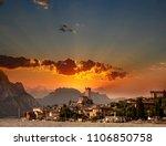 town of malcesine on garda lake ... | Shutterstock . vector #1106850758