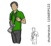 male photographer holding dslr... | Shutterstock .eps vector #1106859122