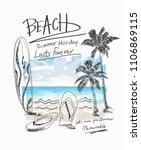 summer beach slogan with beach... | Shutterstock .eps vector #1106869115