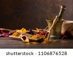 various indian spices with... | Shutterstock . vector #1106876528