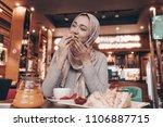 cute arab girl with a headscarf ... | Shutterstock . vector #1106887715
