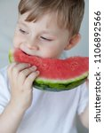 a small cute boy 4 years old is ... | Shutterstock . vector #1106892566