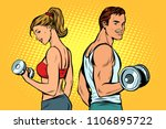 man and woman with dumbbells.... | Shutterstock .eps vector #1106895722