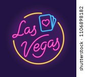 las vegas retro neon sign with... | Shutterstock .eps vector #1106898182
